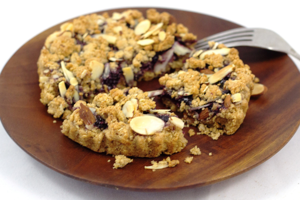 O.A.T. Maine Wild Blueberry Crumb Tart on plate