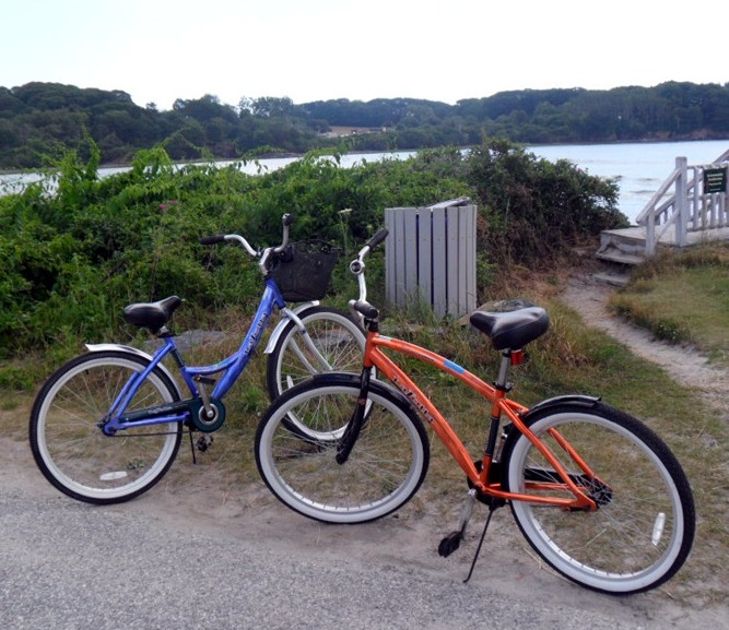 two of our bikes without riders at teh beach